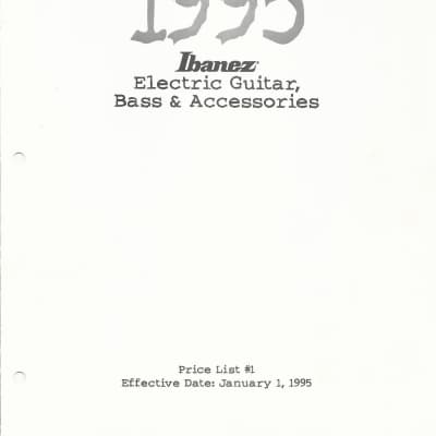 Ibanez-  Price list- Eelectric Guitar, Bass & Accessories- 1995