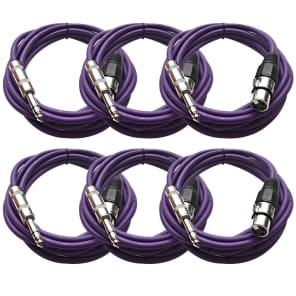 "Seismic Audio SATRXL-F10PURPLE6 XLR Female to 1/4"" TRS Male Patch Cables - 10' (6-Pack)"