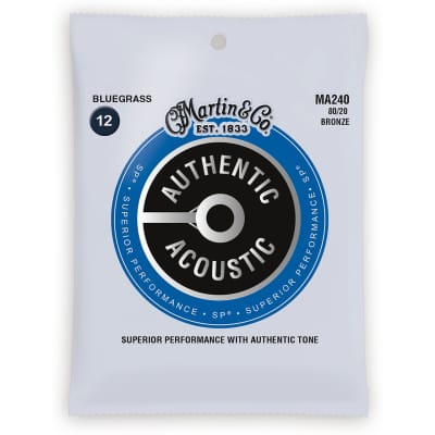 New Martin MA240 Authentic Acoustic SP 80/20 Bronze Bluegrass Guitar Strings, 12-56