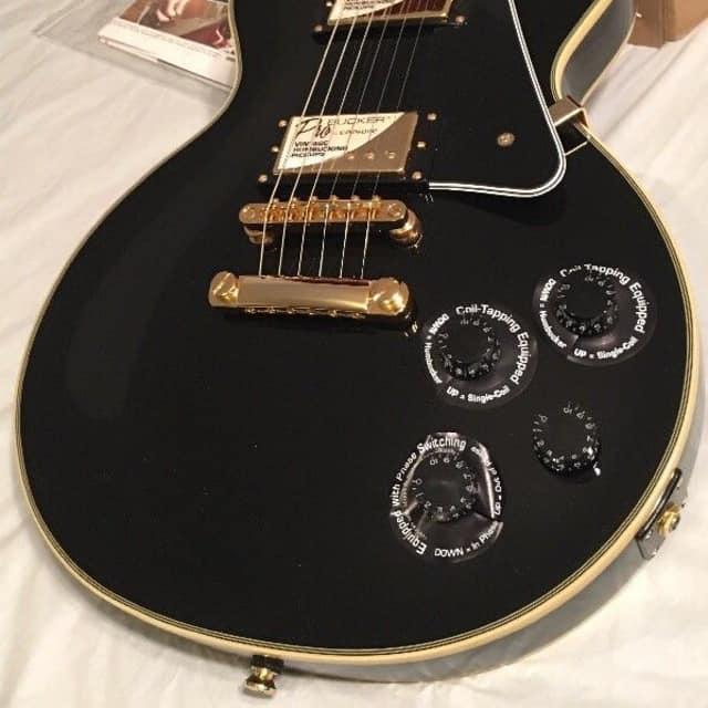 Epiphone  Les Paul Custom Pro Black Pro Bucker pick ups, 2nd Stock Electric Solid Body Guitar image