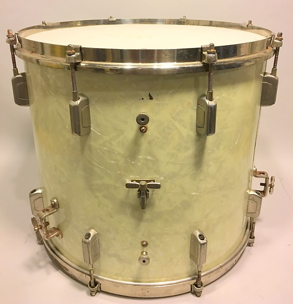 WFL Wm F Ludwig 14 By 16 Floor Tom Late 30s White Marine Pearl