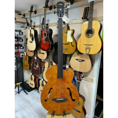 Aria FEB Fretless F Hole Acoustic Bass.Flamed Natural Nato Finish.On Board Tuner for sale