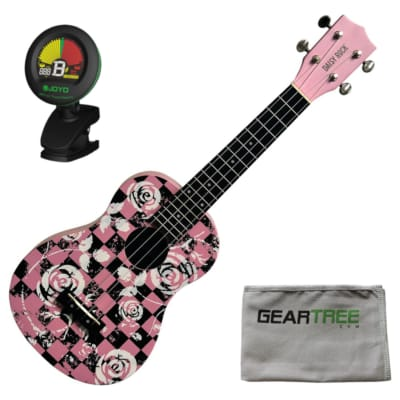 Daisy Rock DRU-3 Punk Pink Concert Ukulele w/ Geartree Cloth and Tuner