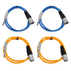 "Seismic Audio SATRXL-M3-2BLUE2ORANGE 1/4"" TRS Male to XLR Male Patch Cables - 3' (4-Pack)"