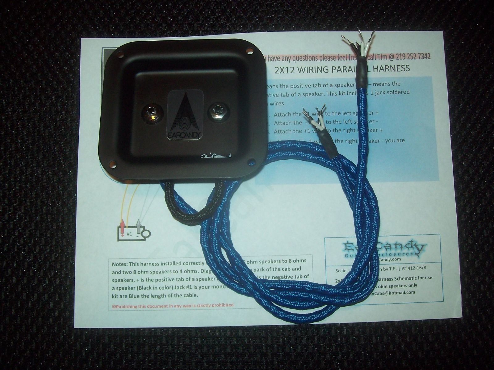 earcandy 2x10 2x12 guitar speaker high definition wiring harness w jack  plate & hardware - parallel