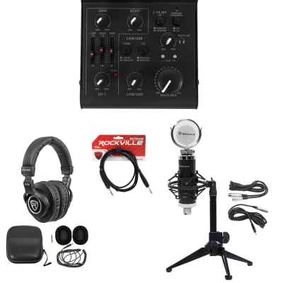 Rockville 1-Person Gaming Twitch Live Stream Recording Mic+Stand+Headphones