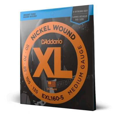 D'Addario EXL160-5 50-135 Medium 5-String Long Scale Set Bass Strings