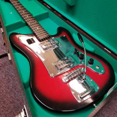 Orpheus Vintage 60s MIJ Offset Electric Guitar, Dark Red Sunburst, w/OHSC for sale