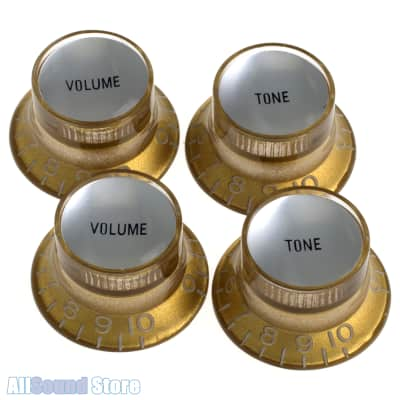 Set of 4 GOLD Bell Top Hat Knobs w/ SILVER Reflector for Gibson USA, CTS