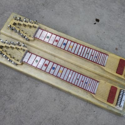 Unknown Vintage Dual 10 Console Steel Guitar - Gibson, Other?  - Psychedelic Decor! for sale