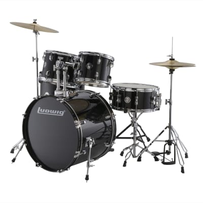 Ludwig Accent Fuse 10/12/14/20/5x14 5pc. Drum Kit Black w/Hardware & Cymbals