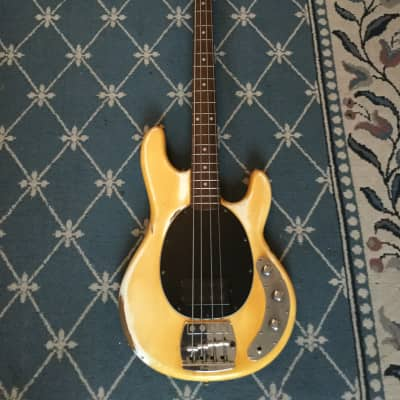 Music Man Stingray Bass Guitar 1979 Yellowed Olympic White for sale
