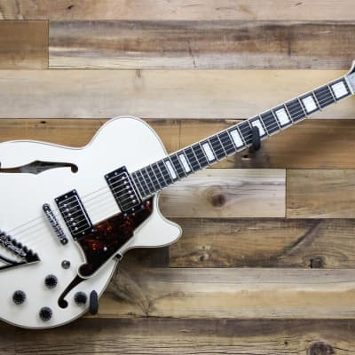 Open Box D'Angelico Premier SS Semi-Hollow Electric Guitar Champagne with Gig Bag