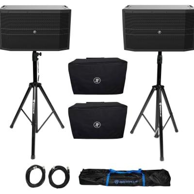 "(2) Mackie DRM12A 2000 Watt 12"" Arrayable Powered DJ PA Speakers+Covers+Stands"