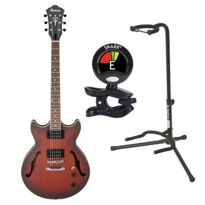 Ibanez AM53 SRF Sunset Red Semi-Hollow Electric Guitar Bundle with Stand & Tuner