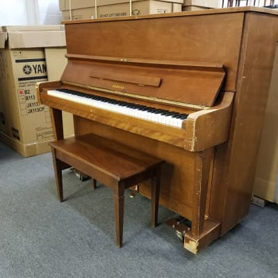 "Yamaha U1 Saw 48"" Studio Upright Piano *Road Worn* with attached Dolly Mfg 1972 Satin Walnut"