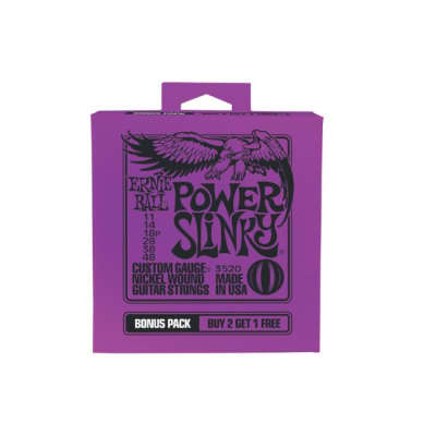 Ernie Ball P03520 Power Slinky 11-48 Electric Guitar Strings Bonus Pack 2+1