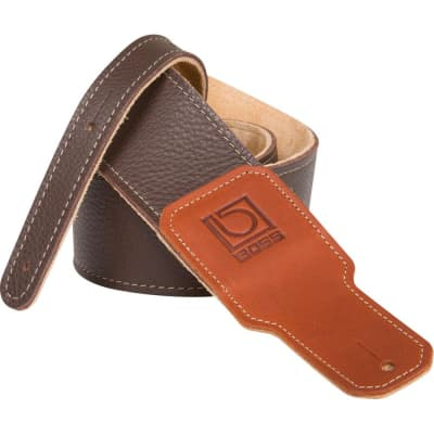 "BOSS BSL-25-BRN Leather Instrument Strap - 2.5"" Width, Brown"
