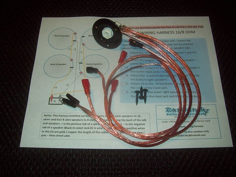 EarCandy 4x10 4x12 guitar amp speaker cab Wiring Harness 4, 8 or 16 on