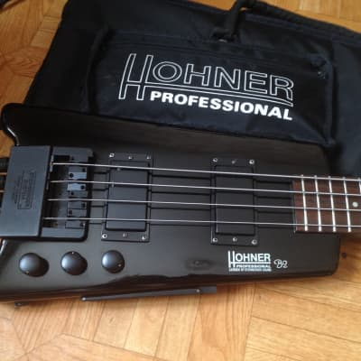 80's Hohner B2 Headless Bass guitar First Edition with original bag and adapter for regular strings for sale