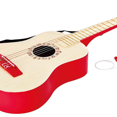 Hape - E0325 - Early Melodies - Vibrant Guitar Wooden Instrument - Red