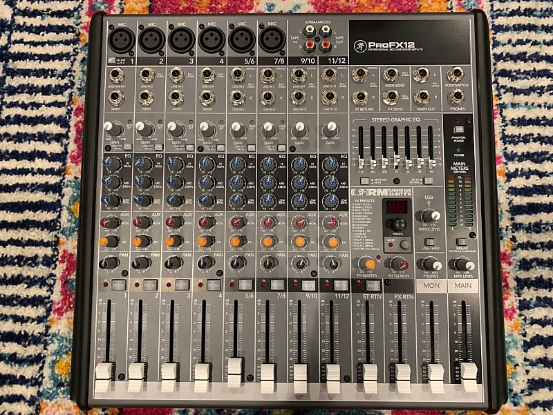 mackie profx12 12 channel professional mic line mixer with reverb. Black Bedroom Furniture Sets. Home Design Ideas