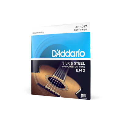 D'Addario EJ40 Silk and Steel Ball End Regular Light Acoustic Folk Guitar Strings - 11-47