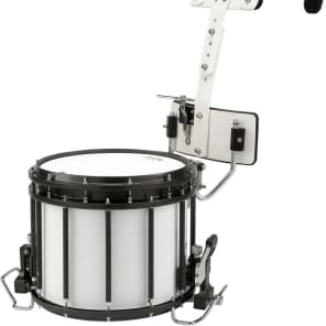 "Sound Percussion Labs MSDHT1412XWH 14x12"" High-Tension Marching Snare Drum with Carrier"