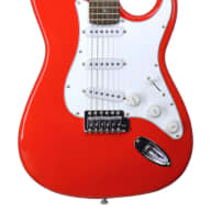 Fishbone RED Strat Style Guitar Model FTOS-100-RED  with Blue Tweed Guitar Case for sale