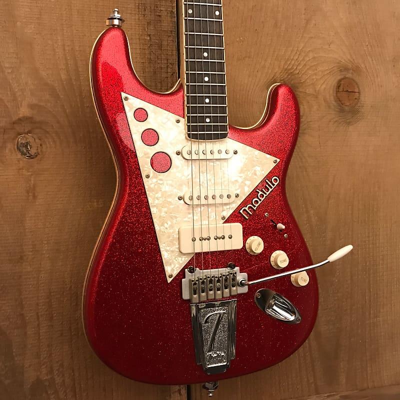Italia Modulo Type 3 Electric Guitar Red Sparkle / White Pearloid w/ HSC