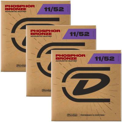 3 Sets Dunlop DAP1152 Phosphor Bronze Medium Light Acoustic Guitar Strings 11-52