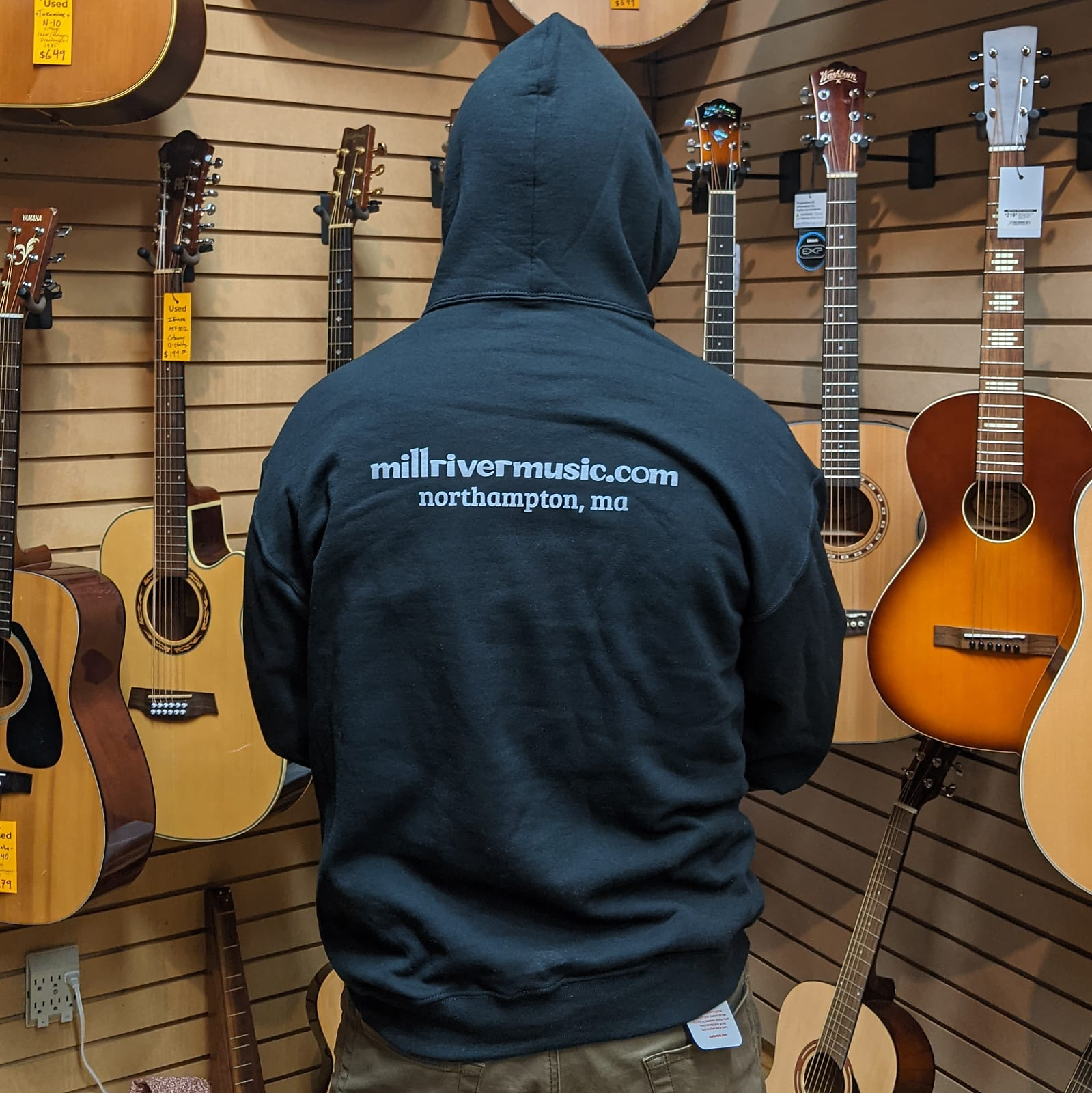 Mill River Music Pullover Hoodie 1st Edition Main Logo Unisex Black Large