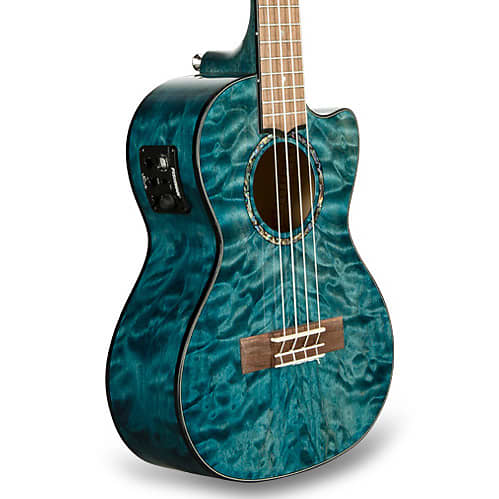 Lanikai QM-BLCET Quilted Maple Blue Cutaway Electric Tenor Ukulele w/ Gig Bag