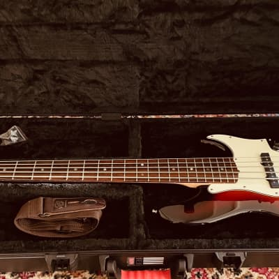 Fender American Deluxe Jazz Bass V Ash with Rosewood Fretboard  Sunburst with Hard Case for sale