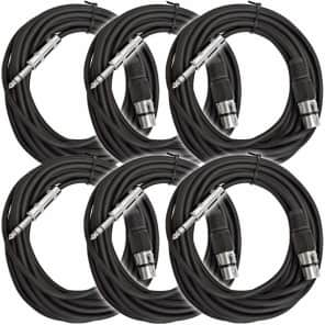 """Seismic Audio SATRXL-F25BLACK6 XLR Female to 1/4"""" TRS Male Patch Cables - 25' (6-Pack)"""