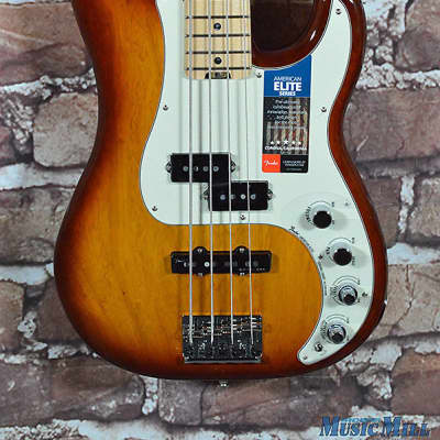 New Fender American Elite Precision Bass Tobacco Sunburst Ash MN PJ Bass image