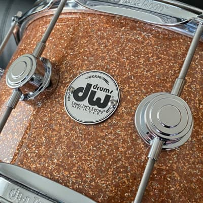 "DW Collectors Series 6.5"" x 14"" Maple Standard 10 ply  in Champagne Glass with Chrome Hardware"