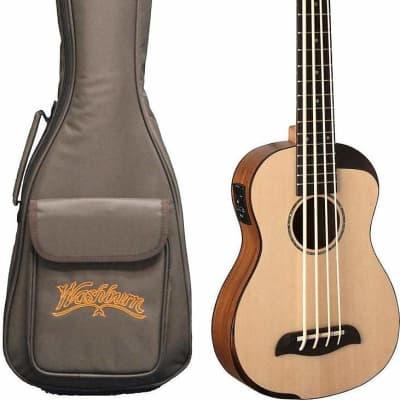 Oscar Schmidt OUB500K Comfort Series Mahogany Neck 4-String Acoustic-Electric Ukulele Bass w/Gig Bag