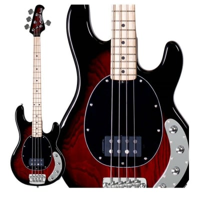 Sterling by Music Man Ray34 Active Electric Bass Ruby Red Burst Finish for sale
