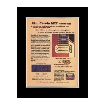 1978 Carvin M22 Humbucker Pickups Original Magazine Ad Double Matted for 11 x 14 Frame