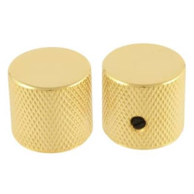 AllParts Metal Flat-Top Barrel Knurled Knobs - Gold - 2 Pack - Universal Guitar Knobs for sale