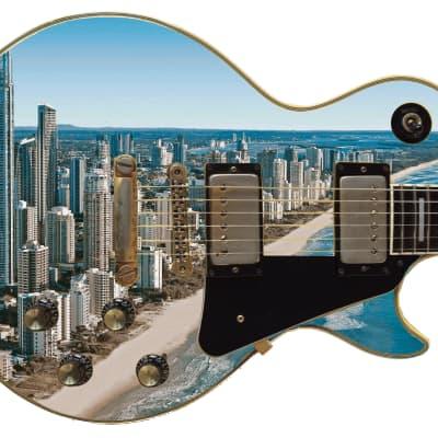 Guitar Skin Most Populous Upbeat City Dubai Theme Body Wrap Vinyl Sticker Decal Full