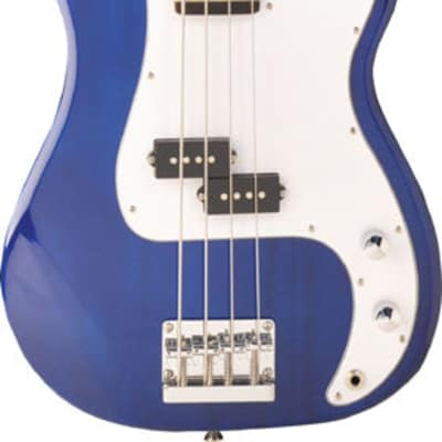 Jay Turser JTB-40-TBL Series 3/4 Maple Neck 4-String Electric Bass Guitar - Trans Blue for sale