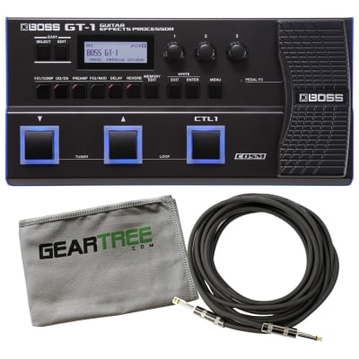 Boss GT-1 Electric Guitar Multi-Effects Processor Pedal Bundle w/Cable and Cloth