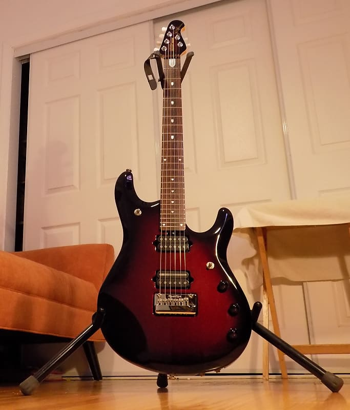 ernie ball music man john petrucci 6 jp6 pearl red burst reverb. Black Bedroom Furniture Sets. Home Design Ideas