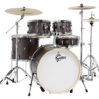 Gretsch Energy 5-Piece Kit w/Full Hardware Package & Zildjian Cymbals- Brushed Grey