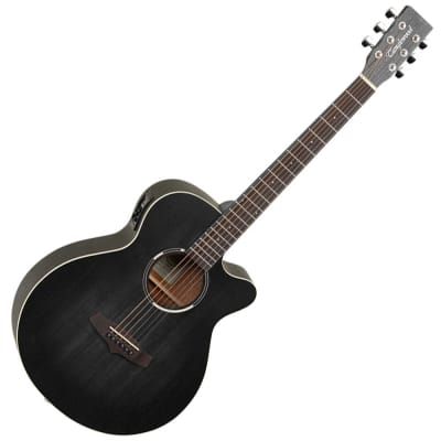 Tanglewood TWBB-SFCE Blackbird Folk Guitar Cutaway - Smokestack Black Satin - Electro Acoustic for sale