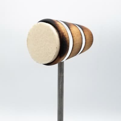 Low Boy Bass Drum Beaters - Felt Daddy, Scorched with White Stripes