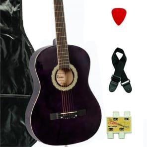 De Rosa DK3810R-DBP Kids Acoustic Guitar Outfit Dark Purple Banding w/Gig Bag, Pick, Strings & Pipe for sale