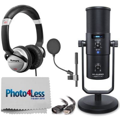 M-Audio Uber Mic Pro USB Microphone With Headphone Output + Pop Filter + Headphone + Cable & Cloth